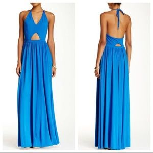 Go Couture blue halter cutout Maxi dress — small